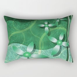 Emerald Fractal Scrapbooking Floral Rectangular Pillow