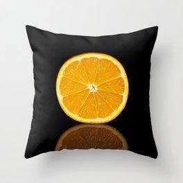 Half orange on a black reflective background Throw Pillow
