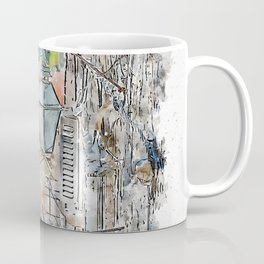 Aquarelle sketch art. Old streets of old city in south of Croatia, Dubrovnik Coffee Mug