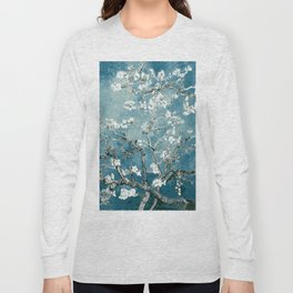 Vincent Van Gogh Almond Blossoms Teal Long Sleeve T-shirt