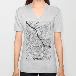 Warsaw Map Gray Unisex V-Neck