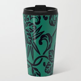 Green Black Japanese Floral LeafPattern Travel Mug