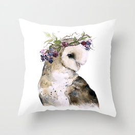 Flower Crowned Barn Owl Throw Pillow