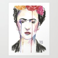 frida Art Prints featuring Frida by SirScm