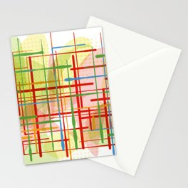 Abstract Lines Shapes Green and Yellow Stationery Cards