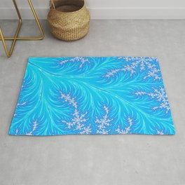 Abstract Aqua Blue Christmas Tree Branch with White Snowflakes Rug