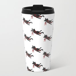 Cat in red ribbon Travel Mug