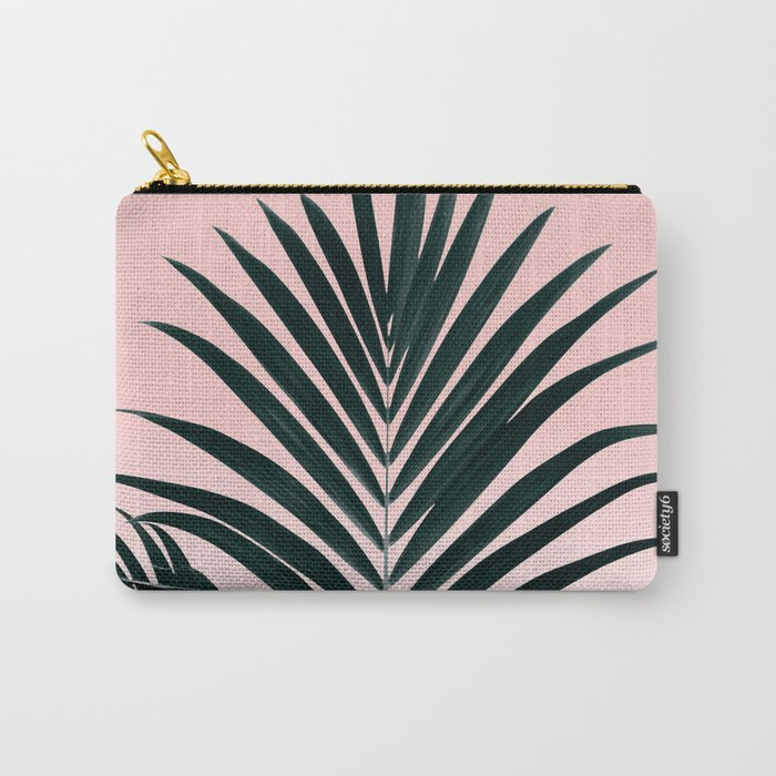 Tropical Green palm tree leaf blush pink gradient photography Carry-All Pouch