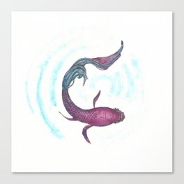 Foo the Siamese Fighter Fish. Pen and ink and watercolour Betta Splendens by Candy Medusa Canvas Print