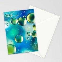 Macro Water Droplets  Aquamarine Soft Green Citron Lemon Yellow and Blue jewel tones Stationery Cards