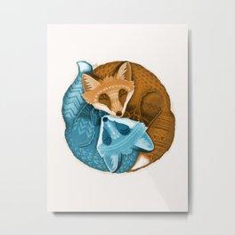 Foxes Yin Yang Metal Print