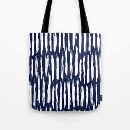 Vertical Dash White on Navy Blue Paint Stripes Tote Bag