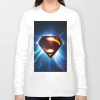 man of steel Long Sleeve T-shirts featuring Man of Steel Logo by taylorwayne93