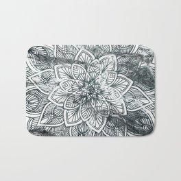 Indie Floral Mandla on White Marble Bath Mat