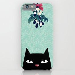 Mistletoe? (Black Cat) iPhone Case