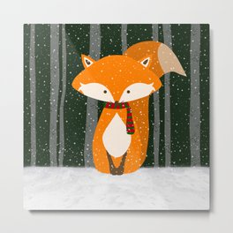 Fox Wintery Holiday Design Metal Print