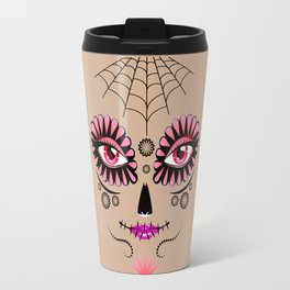 Pink floral sugar skull Travel Mug