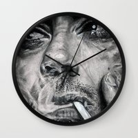 robert downey jr Wall Clocks featuring Robert Downey JR by Luna Perri