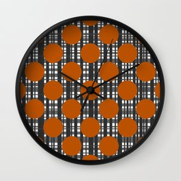 Autumn Dots and Plaid Wall Clock