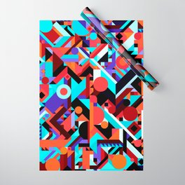 CRAZY CHAOS ABSTRACT GEOMETRIC SHAPES PATTERN (ORANGE RED WHITE BLACK BLUES) Wrapping Paper
