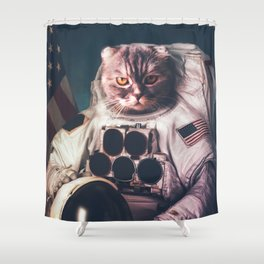 Beautiful cat astronaut Shower Curtain
