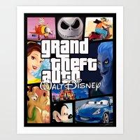 gta Art Prints featuring Disney GTA by nightfrost4
