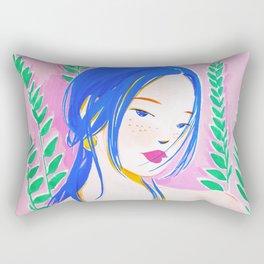 Girl and Aroid Palm Rectangular Pillow