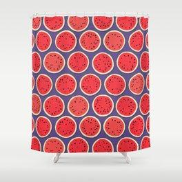 watermelon polka purple Shower Curtain