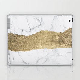 Elegant faux gold foil gray white modern marble Laptop & iPad Skin