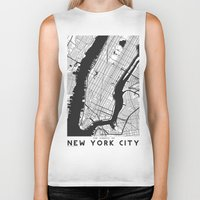 new york map Biker Tanks featuring New York City map by Studio Tesouro