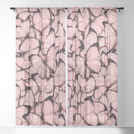 Pink Butterflies Sheer Curtain