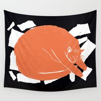 fat Wall Tapestries featuring Fat Cat by The Printed Peanut