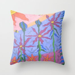 Blue Bohemian Garden Art Throw Pillow