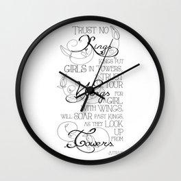 Trust No Kings - white Wall Clock