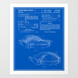 Stadium Patent - Blueprint Art Print