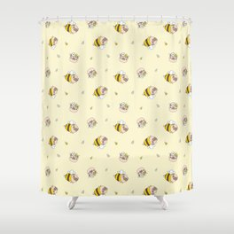 Pug Bee Pattern Shower Curtain