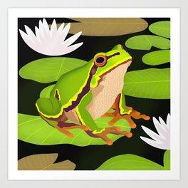 Lilypads Bullfrog Art Print