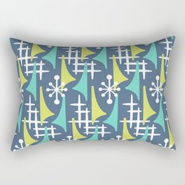 Mid Century Modern Atomic Wing Composition 55 Blue Turquoise and Chartreuse Rectangular Pillow