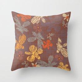 Retro Flowers Fall Throw Pillow