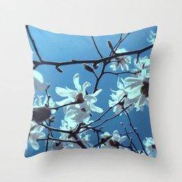 White Magnolia Bloom Blue Sky Throw Pillow