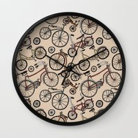 bicycles Wall Clocks featuring Bicycles by Mario Zucca