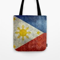 philippines Tote Bags featuring Republic of the Philippines national flag (50% of commission WILL go to help them recover) by LonestarDesigns2020 is Modern Home Decor