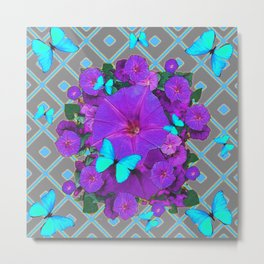 Shimmering Blue Butterflies  Purple Floral Art Metal Print