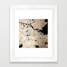 Amsterdam Gold on Black Street Map Framed Art Print