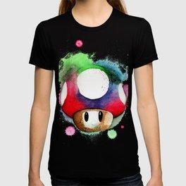 1UP Mushroom MArio Game Watercolor art Print T-shirt