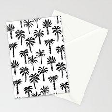 Palm Tree linocut pattern minimal tropical black and white minimalist Stationery Cards