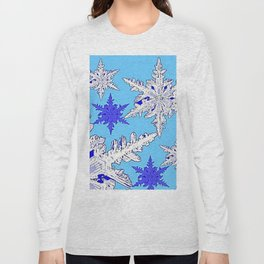 BEAUTIFUL BLUE & WHITE SNOW CRYSTALS  DESIGN Long Sleeve T-shirt