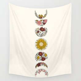 Floral Phases of the Moon Wall Tapestry