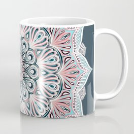 Expansion - boho mandala in soft salmon pink & blue Coffee Mug