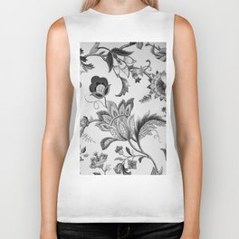 Floral Black and White Biker Tank
